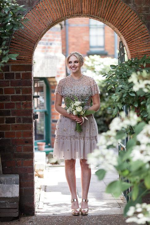 Modern chic bride wearing Needle & Thread Dress