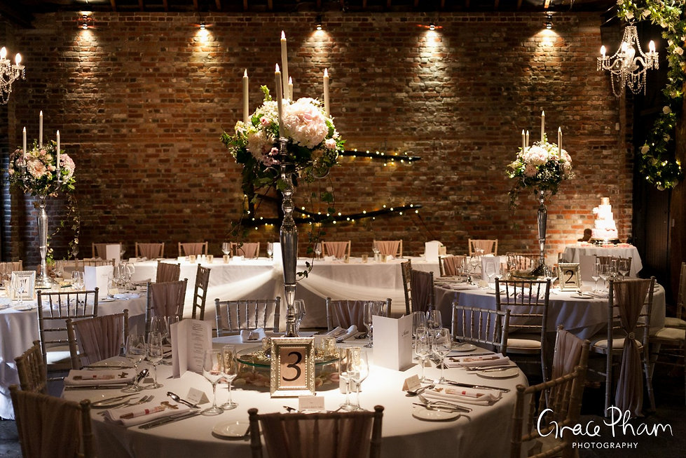 Cooling Castle Wedding Venue, Kent. Tithe Barn Reception Room captured by Grace Pham Photography