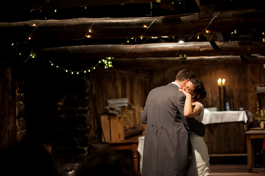 Emu Bottom Homestead wedding reception party in the barn. First dance moment.