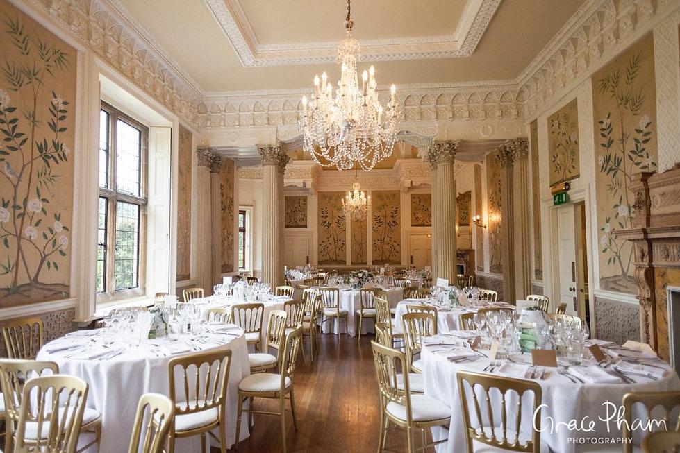 Hampden House Wedding Reception,  Dining Room images by  Buckinghamshire Wedding photographer  01