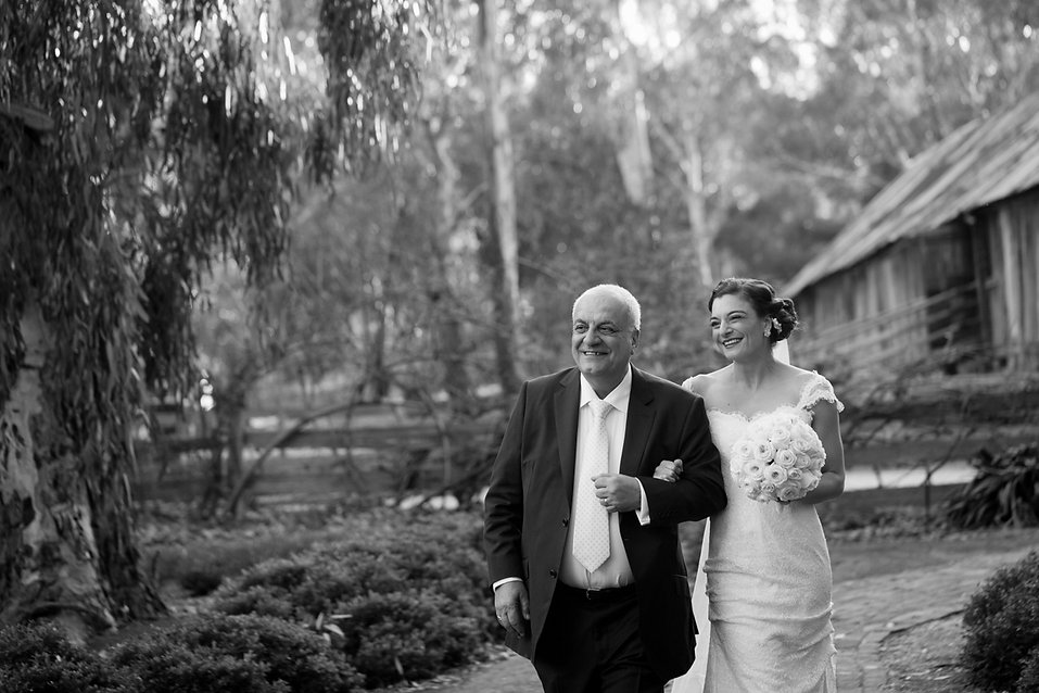 Emu Bottom Homstead wedding, captured by Grace Pham Wedding Photographer. Bride and father of the bride.