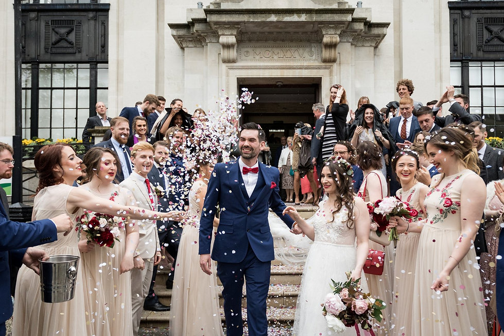 Islington Town Hall Wedding confetti captured by London Wedding Photographer May 2018 02