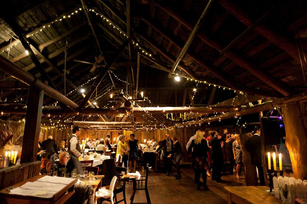 Emu Bottom Homestead wedding reception party in the barn.