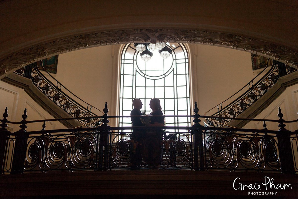Methodist Central Hall, Westminster Wedding. Photos at the grand hall staircase 02