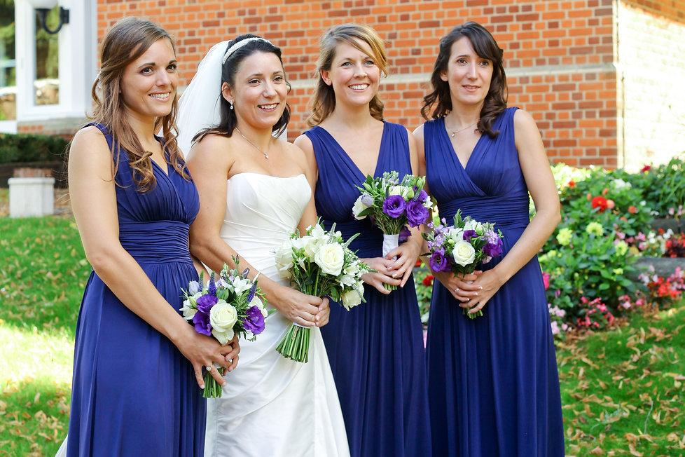 bridesmaids with bride, kent wedding photographer
