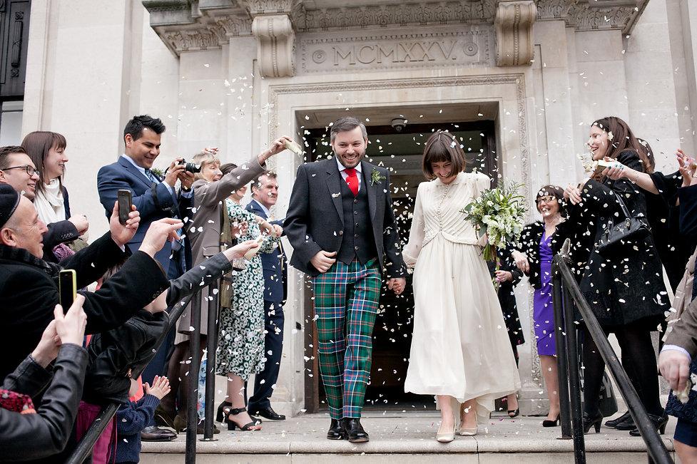 Islington Town Hall Wedding, confetti moment 01