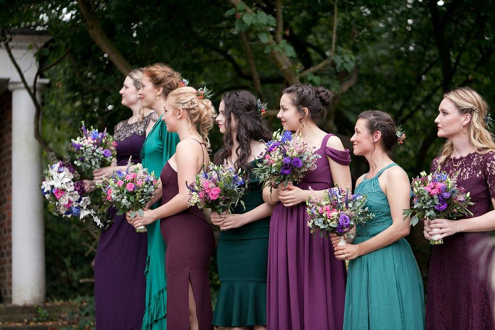 Meaghan Martin & Oli Higginson's Wedding at Cannizaro House, Wimbledon captured by London Wedding Photographer. Bridesmaids.