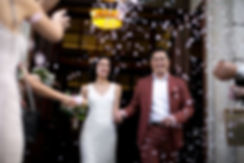 Confetti moment at the Town Hall Hotel, London on our wedding day.