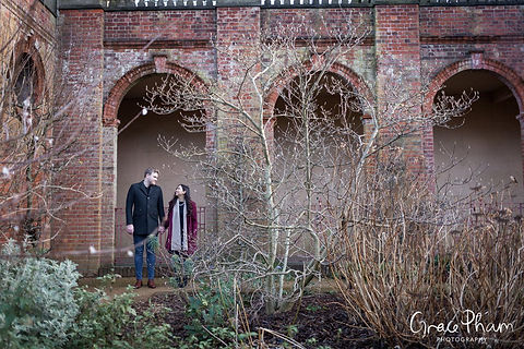 Hampstead Pergola & Hill Gardens Winter Engagement Shoot captured by Grace Pham London Wedding Photographer 04