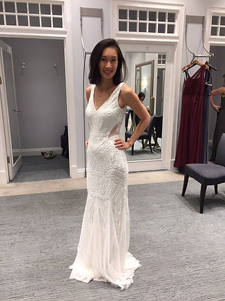 Trying on wedding dresses at David's Bridal in Stratford