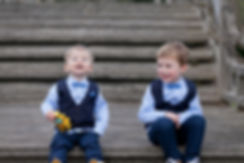 Cute page boys ready for the wedding at Great Fosters, blue suits, how cute