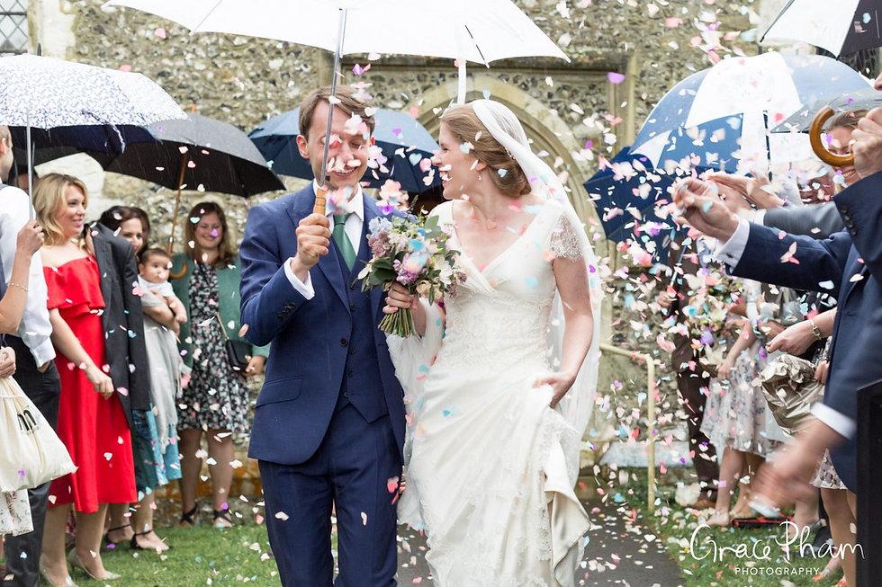 Hampden House Wedding confetti moment by UK Photographer