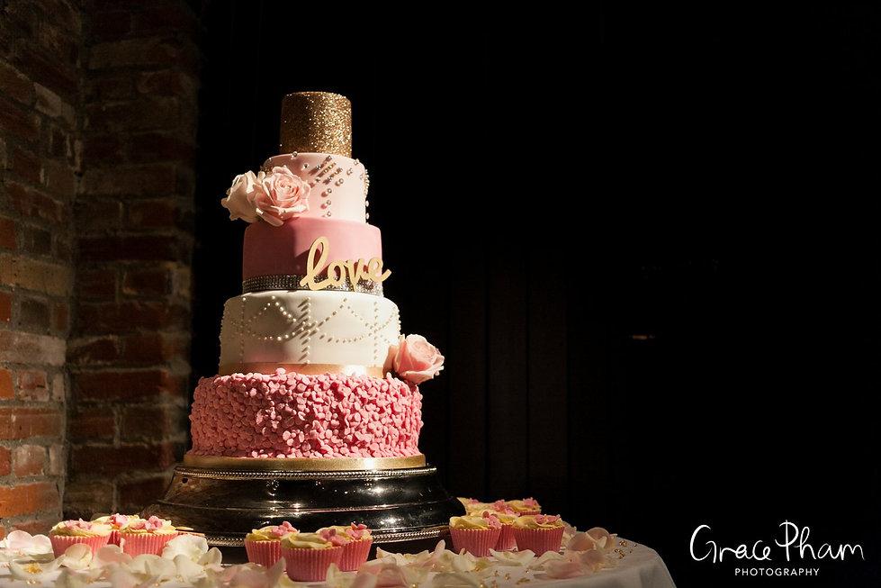 Wedding cake at Cooling Castle Barn, Kent