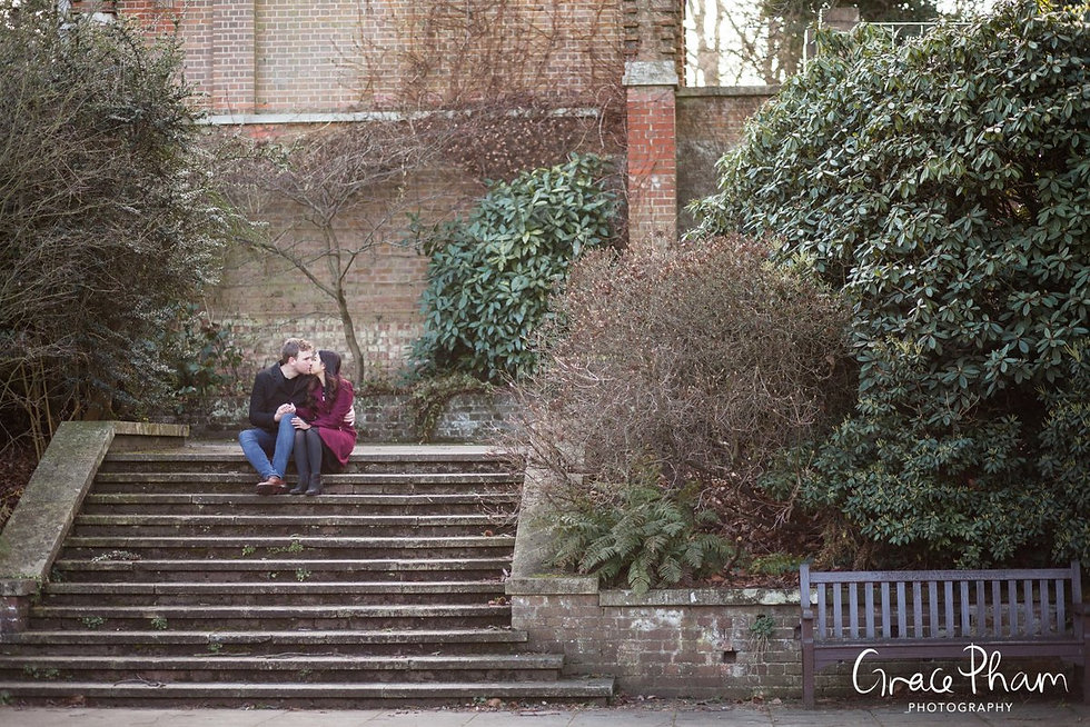 Hampstead Pergola & Hill Gardens Winter Engagement Shoot captured by Grace Pham London Wedding Photographer 07