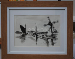 Wherry at Thurne Mill 45x38cm