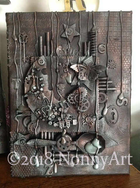 Steampunk button moon and Mr Spoon 23x30.5x1.5cm NA2018