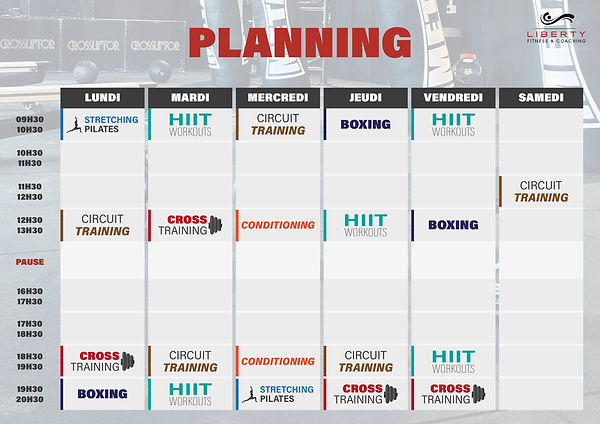 Planning salle fitness coaching aix