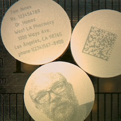 Cold laser marked samples