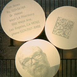 Cold laser marked samples