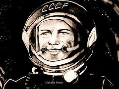 Jurij Gagarin, Sandmallllerei von Natalia Moro.