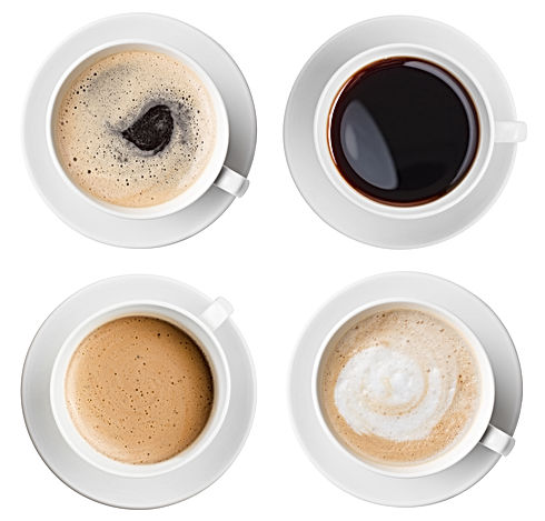 Four various coffee cups top view set is