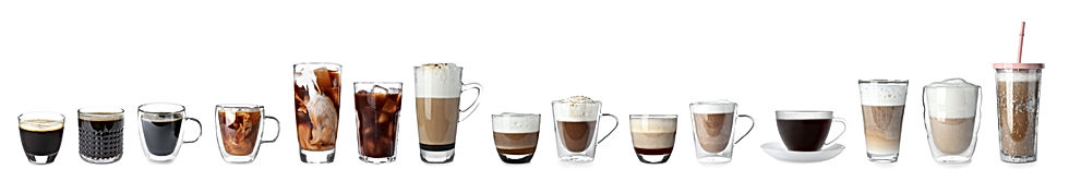 Set with different types of coffee drink