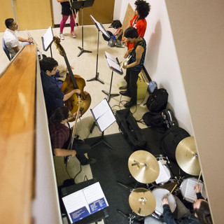 Combo A rehearsing in the PAC building