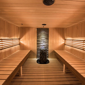 Interior of a Helo custom-cut sauna room