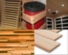 Circular montage photo depicts sauna materials, components and rooms