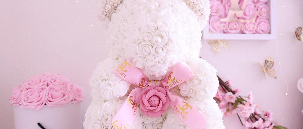 """15"""" CC Pink & White Rose Bear"""