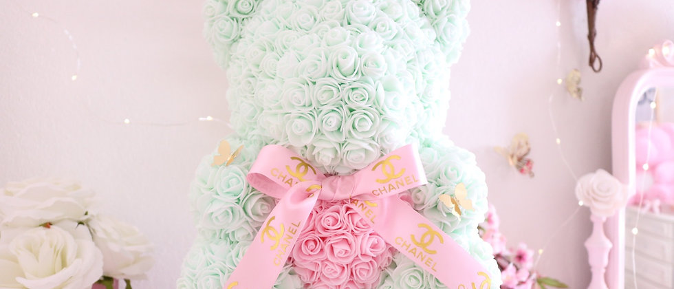 "15"" Light green Rose Bear"