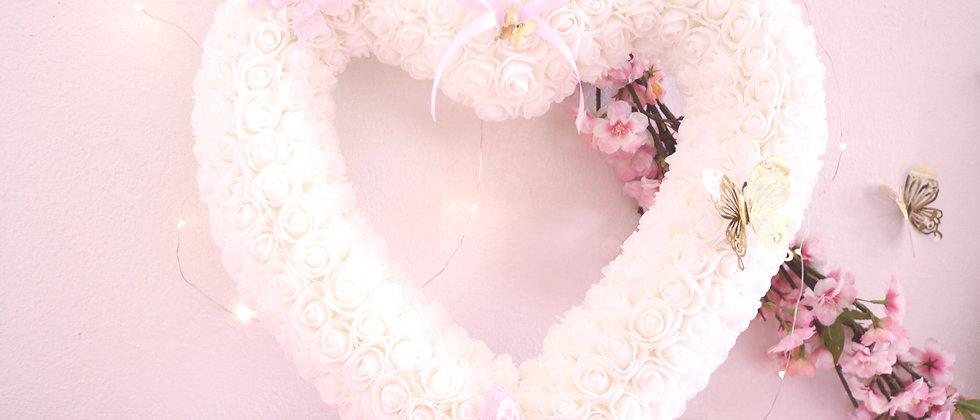 """17"""" White Rose Heart"""