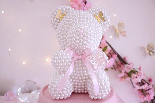 "8 1/2"" Mini White Pearl Bear"