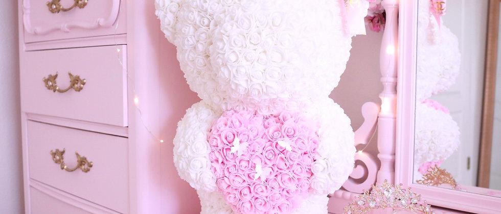 """20"""" White Standing Rose Bear"""