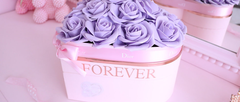 Lilac Rose Shaped Heart