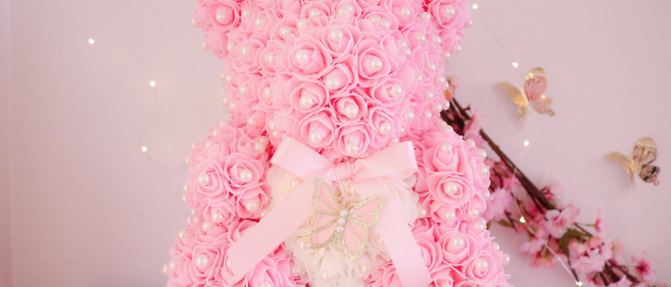 """15"""" Pink with pearls Rose Bear"""