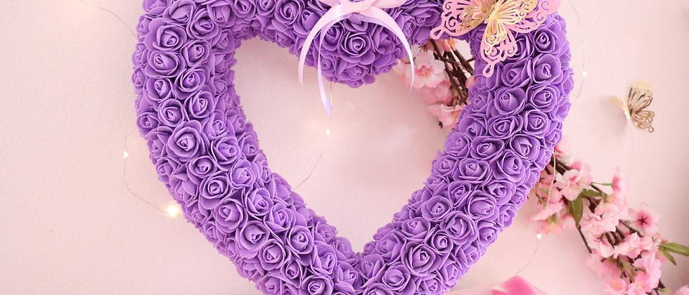 """17"""" Purple Rose Heart"""