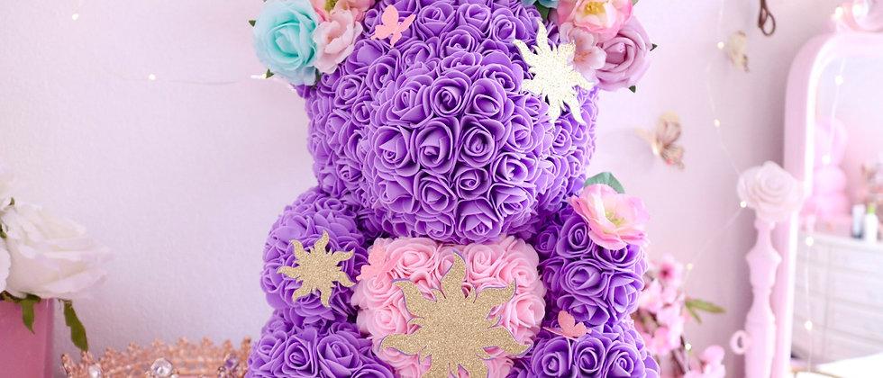 "15"" Purple With Flowers Rose Bear"