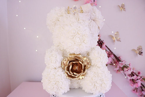 "15"" White with Pearls Rose Bear"