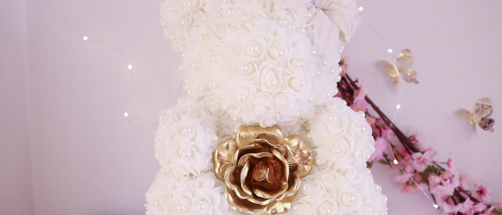 """15"""" White with Pearls Rose Bear"""