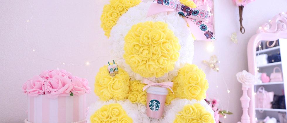 "15"" White & Yellow Sts Rose Bear"