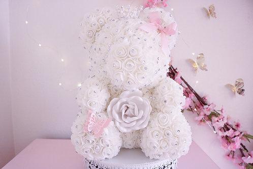 "15"" White with rhinestones Rose Bear"