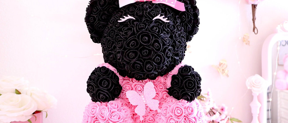 Pink & Black Rose Bear