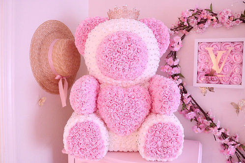 "25"" Giant Light pink & white Rose Bear with Rhinestones"