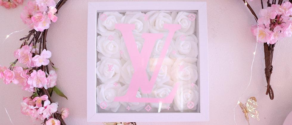 "10"" White & Pink Rose Frame"