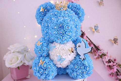 """15"""" Light Blue Rose Bear"""