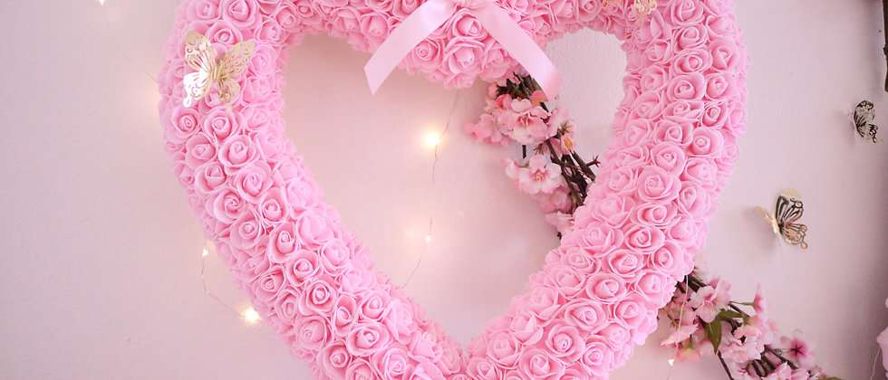 "21"" Pink Rose Heart"
