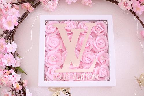 """10"""" White & light Pink Rose Frame"""