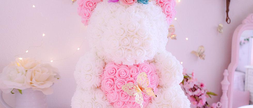 "15"" White Unicorn Rose Bear"