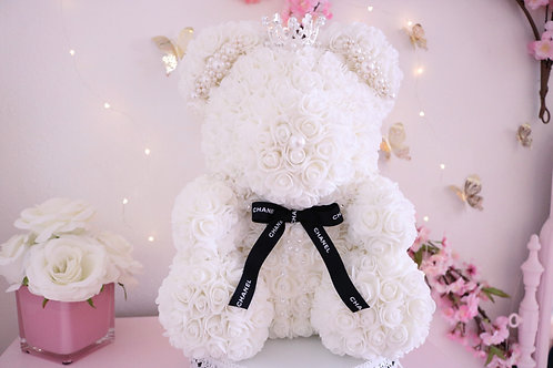 "15"" White Rose Bear"